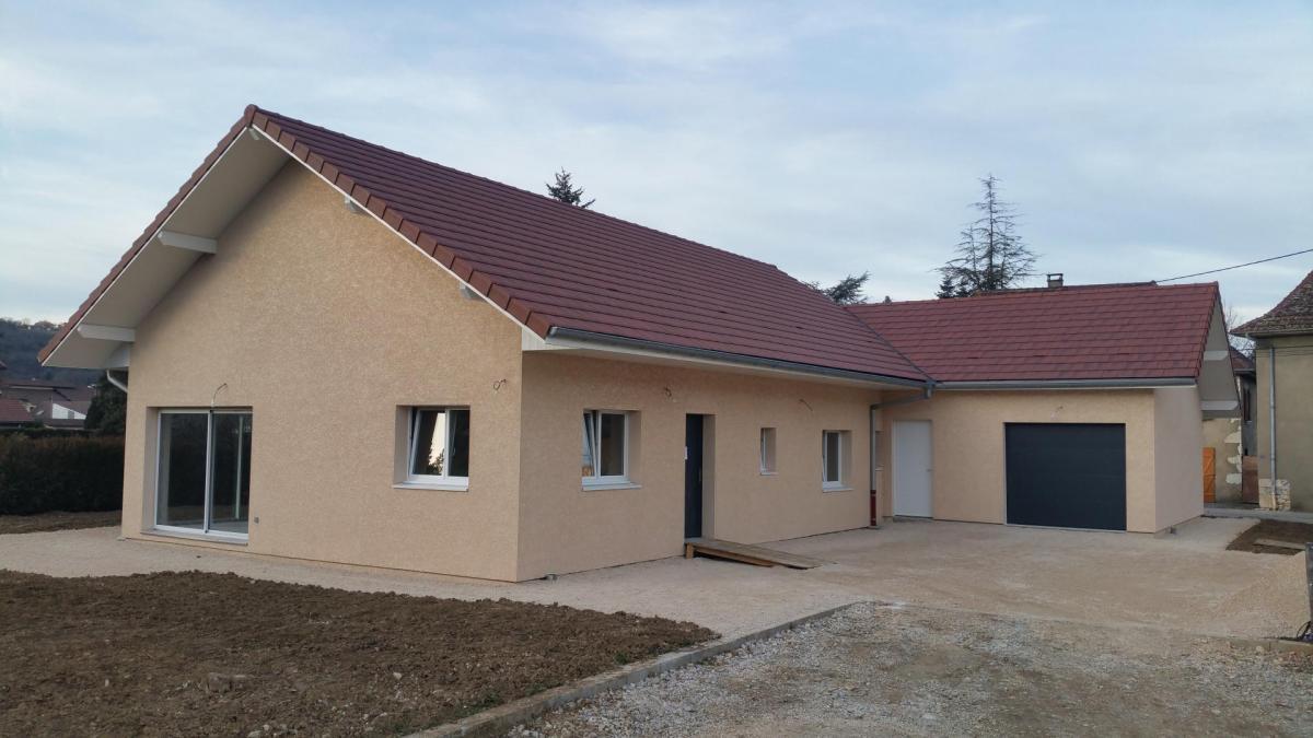 Maison à ossature bois crepis à Yenne (73 Savoie)